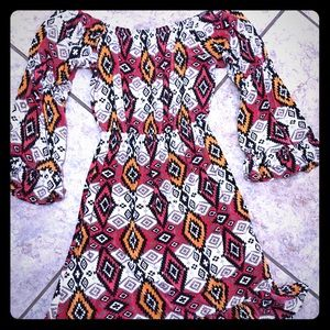 Adorable cinch waist, Aztec print dress